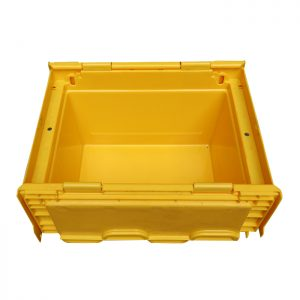 storage bin with hinged lid