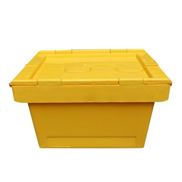 storage bin with hinged lid